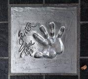 Το Handprint Sylvester Stallone έθεσε το 1993 κατά τη διάρκεια των Καννών Fi στοκ εικόνες