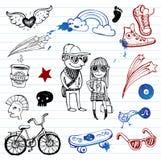 Το Hipsters doodle έθεσε Στοκ φωτογραφία με δικαίωμα ελεύθερης χρήσης