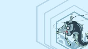 Το ilustration ψαριών και δαγκώνει μια ράβδο αλιείας, α ψάρια ` s Στοκ Εικόνες