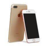 Το iPhone 7 διαφοράς μεγέθους και iPhone 7 συν Στοκ Φωτογραφία