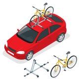 Το Isometric αυτοκίνητο μεταφέρει τα ποδήλατα στη στέγη Μεταφορά ποδηλάτων Επίπεδη διανυσματική απεικόνιση ύφους που απομονώνεται Στοκ Εικόνα