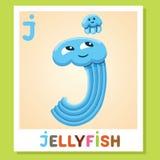 Το J είναι για τη μέδουσα Γράμμα J Μέδουσα, χαριτωμένη απεικόνιση διανυσματικό λευκό εικόνων ανασκόπησης αλφάβητου ζωικό Στοκ φωτογραφίες με δικαίωμα ελεύθερης χρήσης