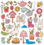 Το kawaii εποχής άνοιξης doodle έθεσε απεικόνιση αποθεμάτων
