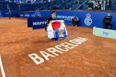 Το Kei Nishikori (τενίστας από την Ιαπωνία) γιορτάζει τη νίκη ανοικτό Banc Sabadell ATP Βαρκελώνη Στοκ Φωτογραφίες