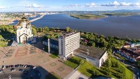 Το Khabarovsk, τετραγωνικός, ορθόδοξος καθεδρικός ναός Slavy, στεγάζει το ραδιόφωνο Στοκ εικόνα με δικαίωμα ελεύθερης χρήσης