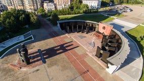 Το Khabarovsk, τετραγωνικός, ορθόδοξος καθεδρικός ναός Slavy, στεγάζει το ραδιόφωνο Στοκ Εικόνες