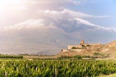 Το Khor Virap και τοποθετεί Ararat Στοκ φωτογραφία με δικαίωμα ελεύθερης χρήσης