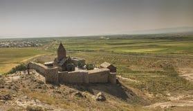 Το Khor Virap που το βαθύ μπουντρούμι είναι ένα αρμενικό μοναστήρι εντόπισε κοντά στα σύνορα με την Τουρκία Στοκ Φωτογραφία