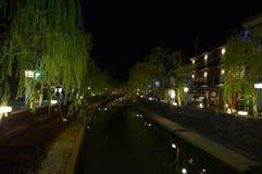 Το Kinosaki η άποψη ποταμών τη νύχτα Στοκ Εικόνες