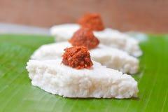Το Kiribath, το ρύζι γάλακτος είναι παραδοσιακά τρόφιμα Sri Lankan Στοκ Εικόνες