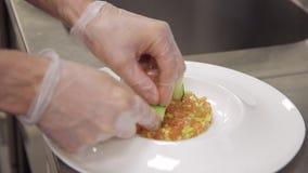 Το Kitchener διακοσμεί το έτοιμο πιάτο στο δωμάτιο μαγείρων του εστιατορίου απόθεμα βίντεο