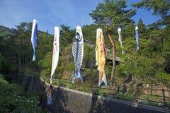 Το Koinbori κοντινό τοποθετεί το Φούτζι Στοκ Φωτογραφία