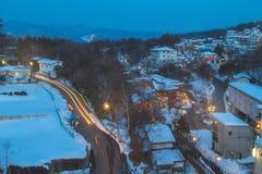 Το Kusatsu Onsen είναι ένα από θέρετρα άνοιξη της Ιαπωνίας τα διασημότερα καυτά Στοκ Εικόνα