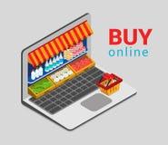 Το lap-top αγοράζει σε απευθείας σύνδεση isometric ηλεκτρονικού εμπορίου αγορών παντοπωλείων τρισδιάστατος οριζόντια ελεύθερη απεικόνιση δικαιώματος