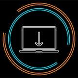 Το lap-top μεταφορτώνει το εικονίδιο διανυσματική απεικόνιση