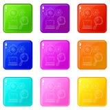 Το lap-top με τα πιό magnifier εικονίδια έθεσε τη συλλογή 9 χρώματος απεικόνιση αποθεμάτων