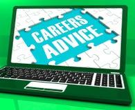 Το lap-top συμβουλών σταδιοδρομιών παρουσιάζει την καθοδήγηση και βοήθεια απασχόλησης απεικόνιση αποθεμάτων