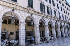 Το Liston Arcade στην παλαιά πόλη της Κέρκυρας Ελλάδα Στοκ εικόνες με δικαίωμα ελεύθερης χρήσης