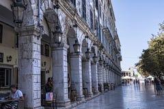 Το Liston Arcade στην παλαιά πόλη της Κέρκυρας Ελλάδα Στοκ φωτογραφίες με δικαίωμα ελεύθερης χρήσης