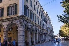 Το Liston Arcade στην παλαιά πόλη της Κέρκυρας Ελλάδα Στοκ Εικόνες