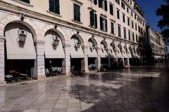 Το Liston Arcade στην παλαιά πόλη της Κέρκυρας Ελλάδα Στοκ Εικόνα
