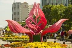Το Lotus ανθίζει τις διακοσμήσεις ύφους στην πόλη του Ho Chi Minh Στοκ Φωτογραφία