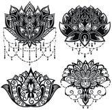 Το Lotus ανθίζει τις σκιαγραφίες Σύνολο τεσσάρων διανυσματικών απεικονίσεων διανυσματική απεικόνιση