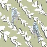 Το magnolia και το sakura Watercolor ανθίζουν με τα πράσινα φύλλα και το άνευ ραφής σχέδιο πουλιών σε ένα μπλε υπόβαθρο διανυσματική απεικόνιση