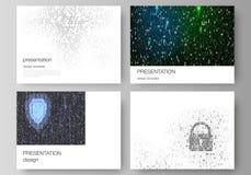Το minimalistic αφηρημένο διανυσματικό σχεδιάγραμμα της παρουσίασης γλιστρά τα επιχειρησιακά πρότυπα σχεδίου δυαδικός κώδικας ανα ελεύθερη απεικόνιση δικαιώματος