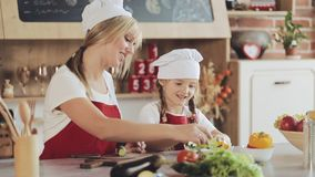Το Mom και λίγη κόρη μαγειρεύουν στην κουζίνα: κάνουν μια φρέσκια σαλάτα κήπων, και η μητέρα διδάσκει το κορίτσι μαγείρεμα και φιλμ μικρού μήκους