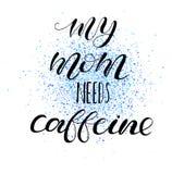 Το mom μου χρειάζεται την καφεΐνη Εγγραφή για τα ενδύματα μωρών διανυσματική απεικόνιση