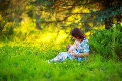 Το Mom ταΐζει το μωρό, θηλασμός, καλοκαίρι Στοκ Εικόνες