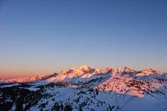 Το mont blanc, με τους φίλους του στοκ εικόνα