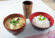 Το Moqueca των πιπεριών ψαριών και κουδουνιών, τρόφιμα Βραζιλιάνος, εξυπηρέτησε με το άσπρο ρύζι, σε έναν ξύλινο πίνακα στοκ εικόνα