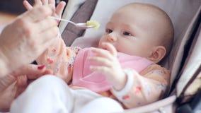 Το Mum ταΐζει με ένα κουτάλι το χαριτωμένο νεογέννητο πουρέ μωρών της κινηματογράφησης σε πρώτο πλάνο κολοκυθιών απόθεμα βίντεο