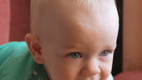Το Mum ταΐζει το όμορφο μωρό με ένα κουάκερ φρούτων κουταλιών Το παιδί εξετάζει ένα σημείο προσεκτικά Κινηματογράφηση σε πρώτο πλ φιλμ μικρού μήκους