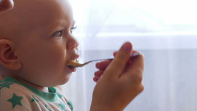 Το Mum ταΐζει το όμορφο μωρό με ένα κουάκερ φρούτων κουταλιών Το παιδί εξετάζει ένα σημείο προσεκτικά Κινηματογράφηση σε πρώτο πλ απόθεμα βίντεο