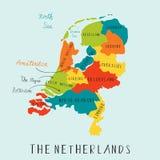 Το Netherland χαρτογραφεί το σχέδιο χεριών Στοκ Φωτογραφίες