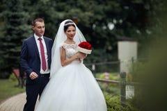 Το Newlywed valentynes που θέτει σε ένα ρομαντικό ευρωπαϊκό πάρκο με αυξήθηκε Στοκ φωτογραφία με δικαίωμα ελεύθερης χρήσης