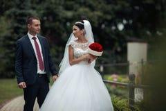 Το Newlywed valentynes που θέτει σε ένα ρομαντικό ευρωπαϊκό πάρκο με αυξήθηκε Στοκ Φωτογραφία