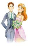 Το Newlyweds, ο γάμος, η νύφη και ο νεόνυμφος, δέσμευσαν το ζεύγος, πρόσκληση δεξίωσης γάμου, ευχετήρια κάρτα, watercolor, ακουαρ Στοκ Εικόνα