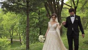 Το Newlyweds περπατά στο πάρκο κοντά στο μεγάλο κάστρο Όμορφη νύφη με τον όμορφο νεόνυμφο φιλμ μικρού μήκους