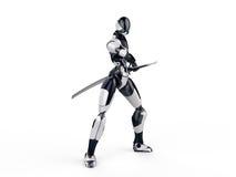 Το ninja Cyborg/ο πολεμιστής ρομπότ παίρνει ένα καθαρό υπόβαθρο ξιφών έξω Στοκ φωτογραφία με δικαίωμα ελεύθερης χρήσης