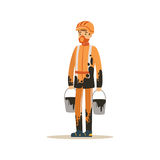 Το Oilman στο πορτοκάλι λεκίασε την ομοιόμορφη στάση με το σύνολο κάδων του πετρελαίου, της εξαγωγής βιομηχανίας πετρελαίου και τ διανυσματική απεικόνιση
