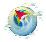 Το Origami δίπλωσε το αεροπλάνο παιχνιδιών που πετά γύρω από το αυτί περικοπών εγγράφου κινούμενων σχεδίων απεικόνιση αποθεμάτων