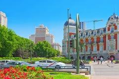 Το Palacio στην Ισπανία Square Plaza de Espana είναι ένα μεγάλο τετράγωνο, α Στοκ Εικόνες