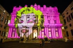 Το Palazzo Ducale, παρουσιάζει αφιερωμένος στην έκθεση γεγονότος του Andy Warhol, Γένοβα, Ιταλία Στοκ Εικόνες