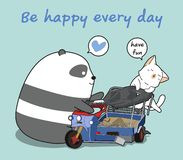 Το panda και η γάτα Kawaii παίζουν το παιχνίδι ελεύθερη απεικόνιση δικαιώματος