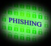 Το Phishing που χαράσσεται αντιπροσωπεύει τους χάκερ κλοπής και αναρμόδιο Στοκ Εικόνα