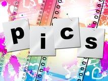 Το Pics Filmstrip αντιπροσωπεύει αρνητικούς φωτογραφικό και τη φωτογραφία Στοκ Φωτογραφία